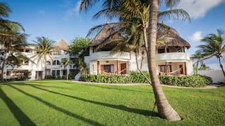 Thatch-roof hotel exterior with manicured lawns and tall palms