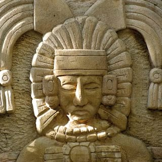 Close-up view of an authentic Mayan stone relief
