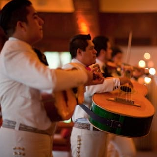 Traditional mariachi band playing a variety of stringed instruments