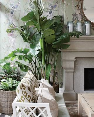 Close-up of a marble mantelpiece under floral wallpaper alongside a potted palm