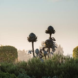 Bronze statue of a flower bunch rising from shrubs on a misty morning