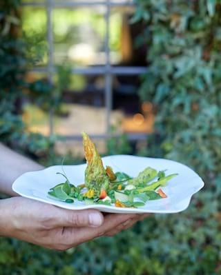 Hands holding a wavy white plate with a courgette flower salad on top