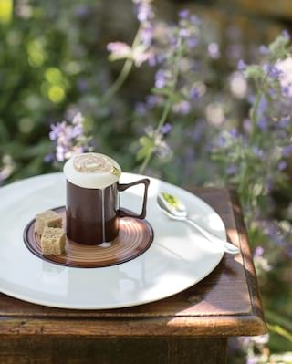 Tea-cup made of chocolate on a white circular plate filled with a cream mousse
