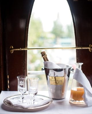 Bottle of Champagne on the Belmond British Pullman