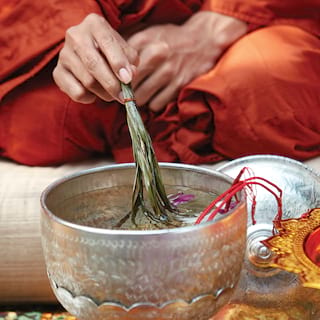 Close-up of an orange-robed monk dipping palm leaves in a silver bowl