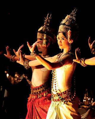 Traditional Khmer dancers in ornate dress