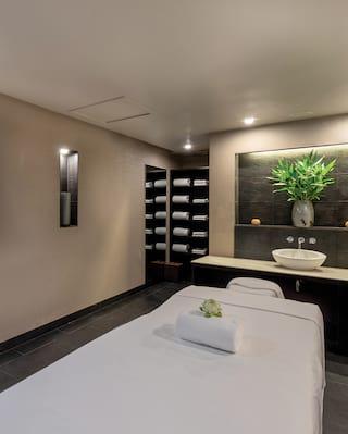 Single spa treatment room with slate tiles and potted palm on a shelf