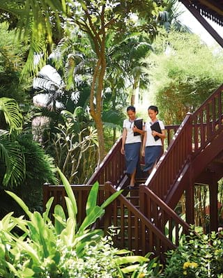Two housekeepers descending an angular teakwood staircase surrounded by trees