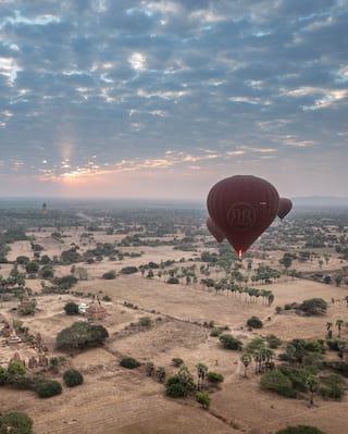 Hot air balloons soaring over Bagan