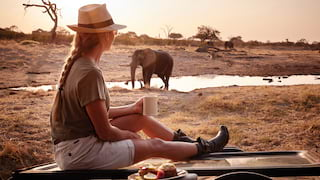 Lady with a cup of coffee sitting on a jeep bonnet and watching elephants