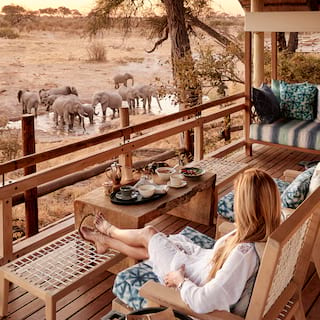 Lady relaxing on a wooden veranda watching elephants gather at a watering hole