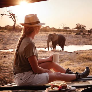 Lady enjoying coffee at sunrise with an elephant strolling in the background