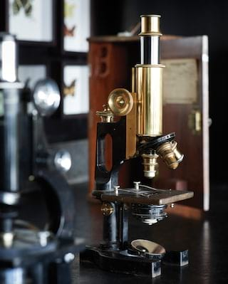 Close-up of a brass microscope