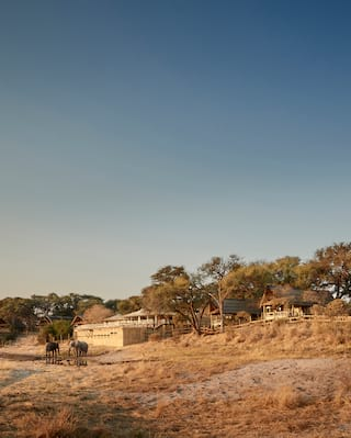 Collection of wooden safari lodges nestled among grasslands and shrubs