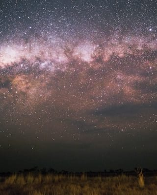 The milky way glowing over a vast grassland plain in inky black skies