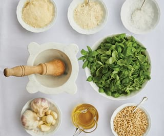 ingredients of Genovese sauce on a table