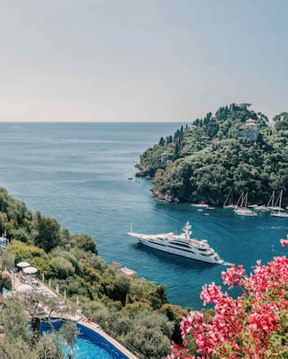Luxury yacht sailing from Portofino harbour