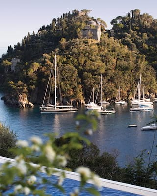 View of Portofino harbour from the pool at Belmond Hotel Splendido