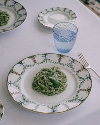 Genovese pasta dish on the table in Dav Mare restaurant