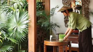 Gardener placing a grass plant on a circular table on a terrace surrounded by palms