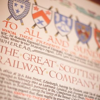 Close-up of royal seal certificate in medieval lettering