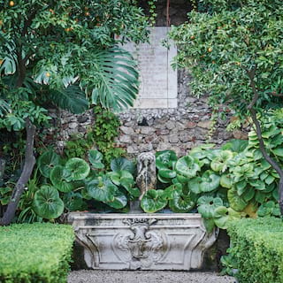 Antique-style stone water feature among lush foliage in manicured gardens