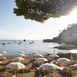 Rows of white parasols and sunbeds on a sandy shore next to clear waters
