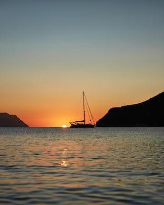 sailing boat off the coast of sicily