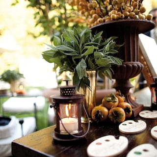 Close-up of a lantern beside a bundle of fresh passionfruit on a garden table