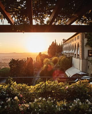 Villa San Michele and gardens at sunset