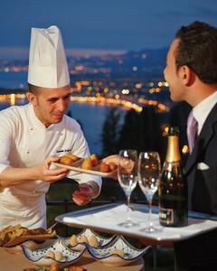 Arancini and champagne